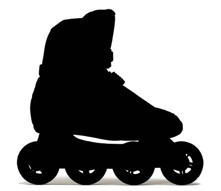roller blade: one roller-skate shoe - black contour on white background with shadow Stock Photo