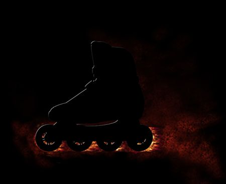 blader: Roll skate shoe with burning wheels and fume and flames