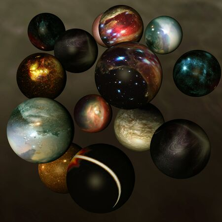 big five: Worlds in deep space - different separated spheres with shining stars ...