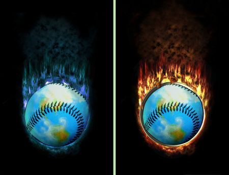 baseball world burning with ice and fire flames, e.g. as button photo