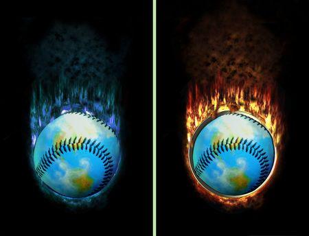 unpressed: llamas de mundo de b�isbol que quema con hielo y fuego, por ejemplo, como bot�n Foto de archivo