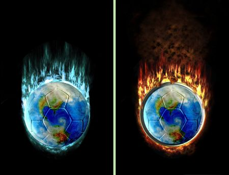 football world burning with ice and fire flames, e.g. as button photo