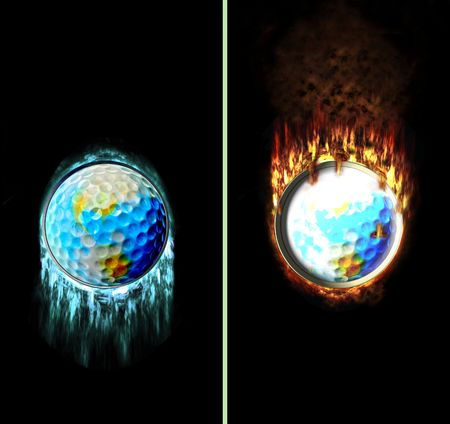 contradiction: Golf ball flying with icicles and fire flames, e.g. as button Stock Photo