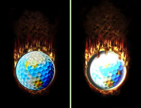 Golf ball button with more and less flames checked and unchecked photo