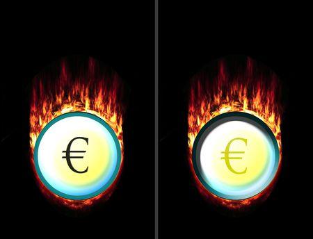 unpressed: Presiona y unpressed de bot�n de fuego con el signo de euro