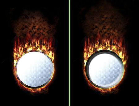 unpressed: bot�n de fuego con el fuego caliente mientras presiona Foto de archivo