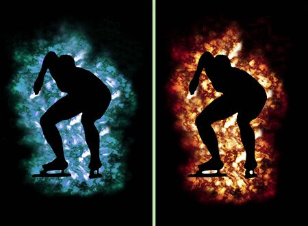 contradiction: speed skater contour surrounded by ice and fire, e.g. as button