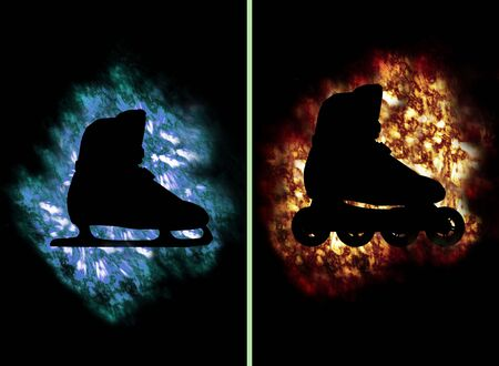 contradiction: Skate and roller-skate shoe on ice and fire for summer and winter Stock Photo