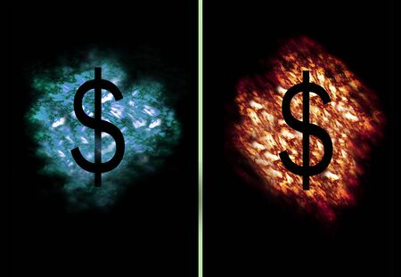 contradiction: Dollar Symbol on flames and ice cloud Stock Photo