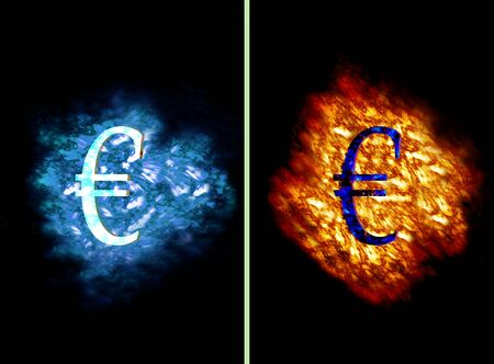 contradiction: Euro Symbol on flames and ice cloud