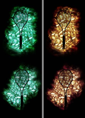 contradiction: Four tennis rackets on 4 different golden and green backgrounds Stock Photo
