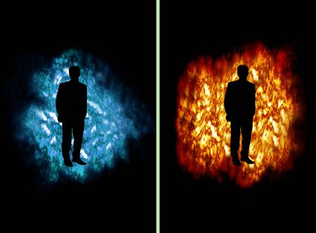 dangerous man: Business man on fire and ice cloud