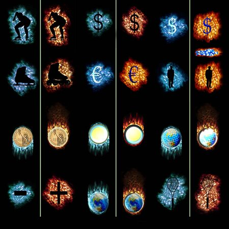 Isolated ice and fire symbols on black background Stock Photo - 6498205