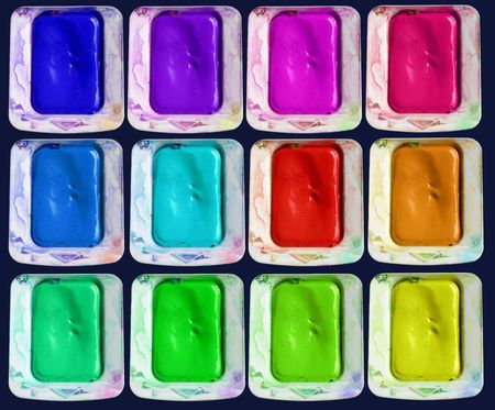 paintbox: Set of isolated colors of watercolor paint-box Stock Photo