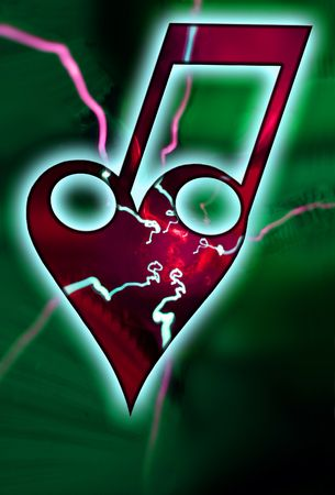 bond: A bond of a heart with two notes and lightings. The love of music...
