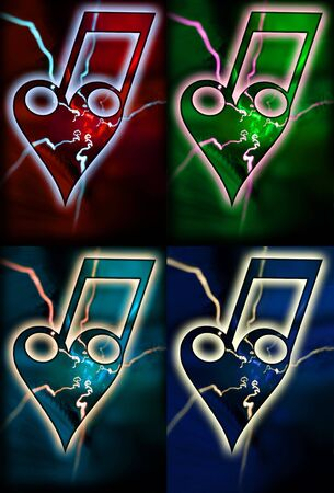 bonds: Four different colored bonds of a heart with two notes and flashes. The love of music...