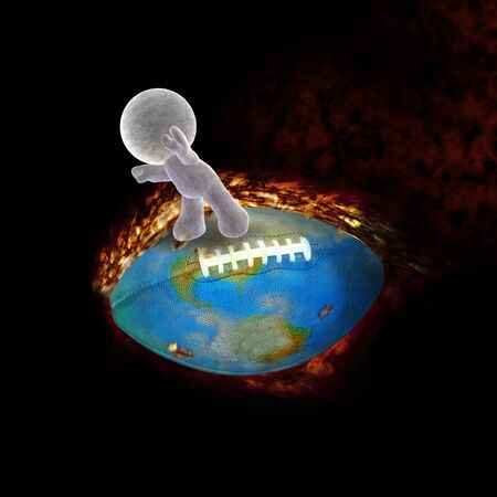 abstract cartoon of a soft toy man flying on a burning football photo