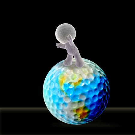 abstract cartoon of a soft man rolling the world of golf forward into future photo