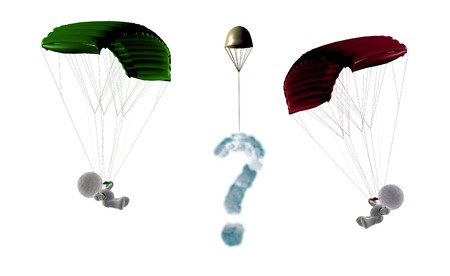 parachuter: Sky meeting of two soft toy parachuters flying against each other