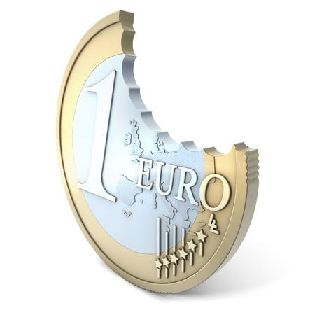Euro bite, 3d rendering on white background