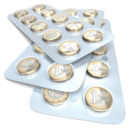 ブリスター パック、白い背景の上の 3 d レンダリングのユーロ硬貨 写真素材