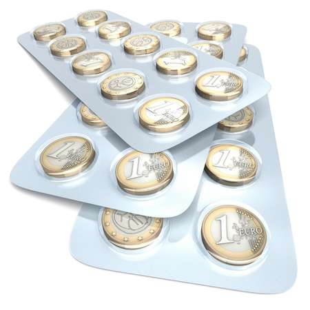 Euro coins in blister pack, 3d rendering on white background