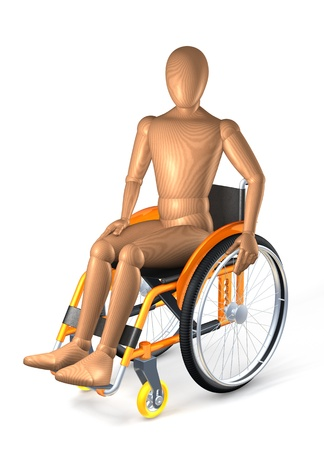 Man in orange wheelchair, 3d rendering on white background photo