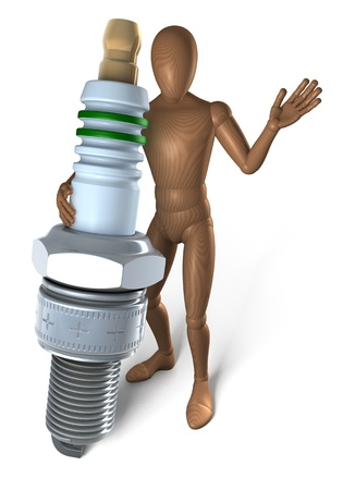 Man holding spark plug, 3d rendering on white background photo