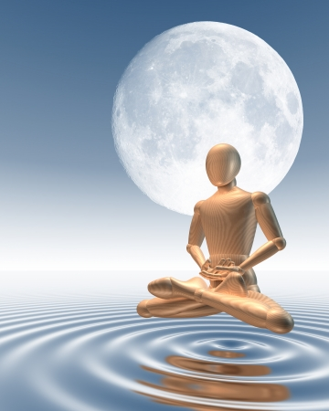Man meditating under moon hovering over water, 3d rendering photo