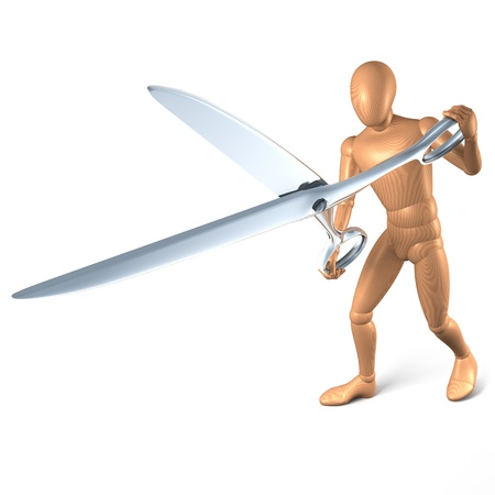 snipping: Man with scissors snipping, 3d rendering on white background Stock Photo