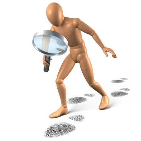 Man investigating foot steps, 3d rendering on white background photo