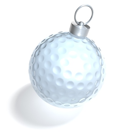 golf ball on tee: Christmas tree ball golfball, 3d rendering on white background Stock Photo