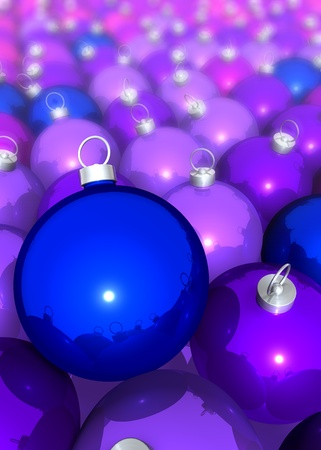 Cluster of blue, violet christmas tree balls, 3d rendering photo