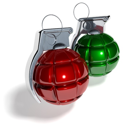 Hand grenade christmas tree ball, 3d rendering on white background photo