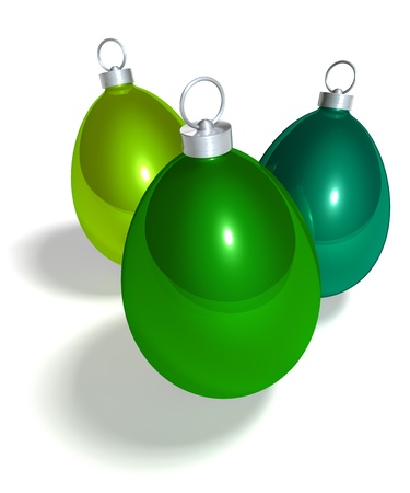 Easter egg christmas tree balls, 3d rendering on white background photo