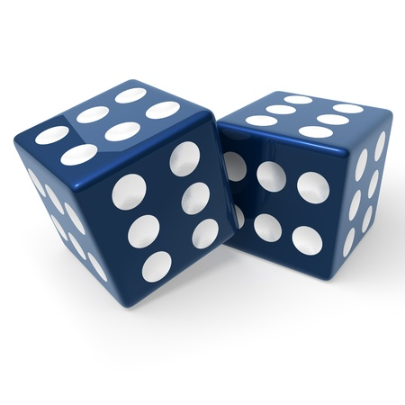 Two blue, loaded dice, 3d rendering on white background photo