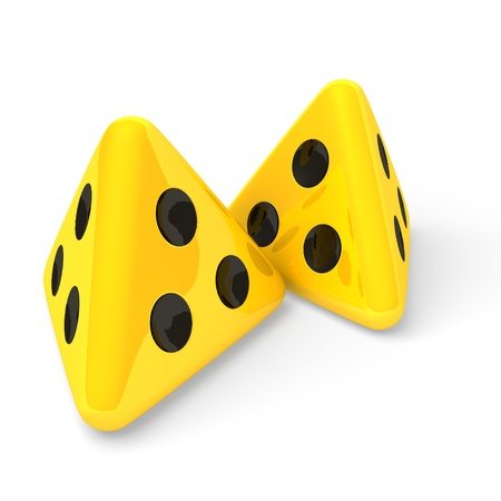 Yellow dice, blindness symbol, 3d rendering on white background photo