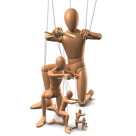 dependence: Group of marionettes, 3d rendering on white background