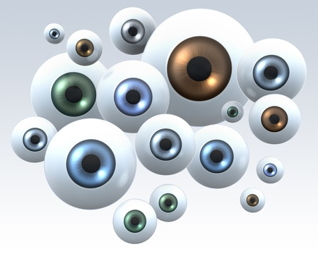 Group of eyes staring into camera, illustration