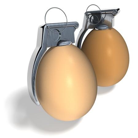 Egg hand grenades natural on white