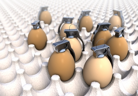 poisoned: Hand grenades in common egg packaging, boxing