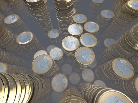 Room full of euro coin piles, money hoard, wide-angle Stock Photo