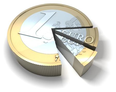 Euromunt gesneden, deel van de taart