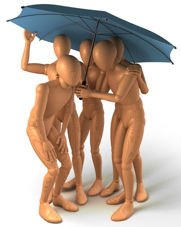 Four figures standing under umbrella photo