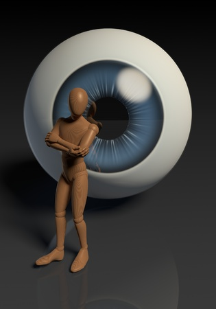 Figure, man standing in front of controlling giant eye photo