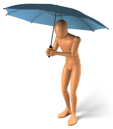 agachado: La figura, el hombre bajo el paraguas