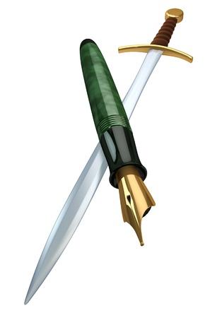 daemon: Mind over matter, pen versus sword, rendering on white background