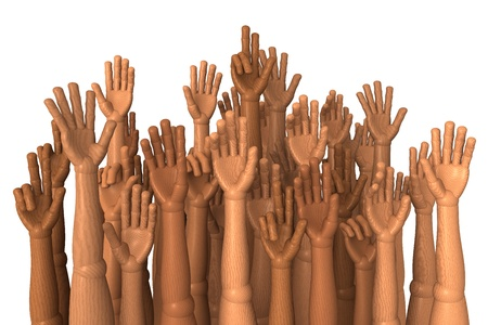 election commission: Hands in the air, election, raising hands, rendering on white background Stock Photo