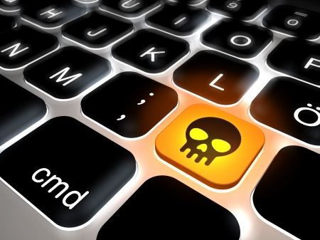 Keyboard with key skull, danger, 3d rendering
