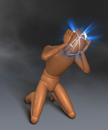 electrifying: Figure holding its head, electrifying headache, thunderstorms in the head, migraine Stock Photo